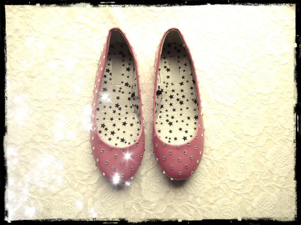 Ballet Flats with Rhinestones - Pink and Silver