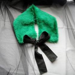 Emerald green faux fur collar 1920s pin up dress up girls womens