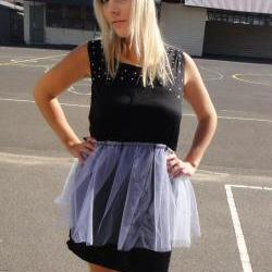 Black Jersey Dress with White Tulle Mini